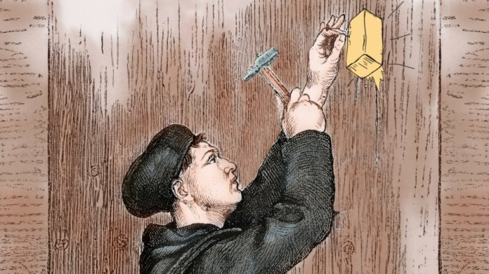 Luther Nailing Theses To Wall
